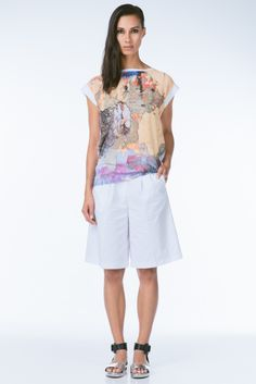 Abstract Printed Boatneck Top by Dina Lynnyk