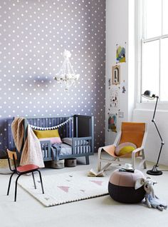 Gorgeous purple polka-dot nursery with chandelier and orange/pink accents. Refreshingly mature for a kid's room. I would use this as inspiration for my own room. Inside Out magazine / Styling by Jessica Hanson. Photography by Amanda Prior Girl Nursery, Girl Room, Baby Room, Nursery Room, Princess Nursery, Child's Room, Deco Kids, Polka Dot Walls, Polka Dots