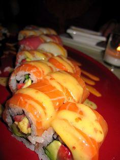 S.O.S. SUSHI ROLL - (Salmon, strawberries, avocado, and miso orange sauce) - Sei Restaurant and Lounge - Washington, DC