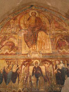 Lavaudieu, fresque du réfectoire de l'abbaye (XIIe siècle).