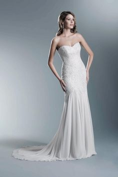 Lace fishtail with chiffon skirt, wedding dress from The One Collection by Agnes.