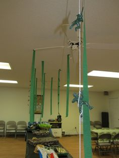 Army Themed Birthday Party -love decorations of green army men hanging around.