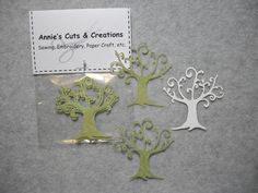 Die cut trees set of 4 with variegated green textured cardstock. Elegant and Ornate by AnniesCutsCreations on Etsy