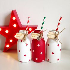 Santa's milk polka dot hand painted mini milk bottle by TillySage on Etsy… Starbucks Bottle Crafts, Starbucks Glass Bottles, Mini Milk Bottles, Frappuccino Bottles, Diy Bottle, Wine Bottle Crafts, Jar Crafts, Bottle Art, Mason Jar Gifts