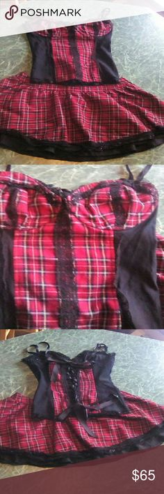Tripp lip Service Corset Skirt Set Tartan Great condition vintage outfit!! Hard finding these older pieces as a set. Both corset and skirt a size small. lip service Tops