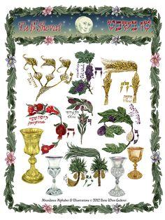 For Tu B'Shevat: In Celebration Of Creation Hebrew Prayers, Arte Judaica, Alphabet Writing, How To Write Calligraphy, Hebrew Words, Hannukah, Jewish Art, Judaism, Great Artists