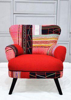 fauteuil patchwork, joli fauteuil rouge