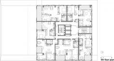 Residential building in Slovenia - Ravnikar Potokar arhitecturni - 5th floor plan #appartementen