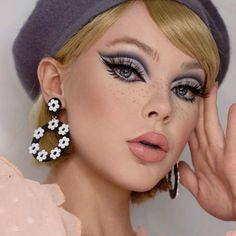 Retro Makeup, Edgy Makeup, Makeup Eye Looks, Creative Makeup Looks, Eye Makeup Art, Cute Makeup, Beauty Makeup, Hair Makeup, Vintage Makeup Looks