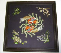 Mid Century Peacock Silk Embroidered Picture Peacocks Asian Wall Hanging