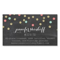 Preppy business cards colorlinks design pinterest business confetti glitter cute gold coral mint chalkboard business card colourmoves