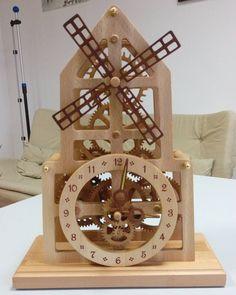 Wooden table clock windmill