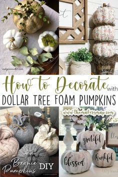 Dollar Tree Halloween, Dollar Tree Fall, Dollar Tree Decor, Dollar Tree Crafts, Halloween Boo, Halloween Pumpkins, Dollar Tree Centerpieces, Pumpkin Centerpieces, Dollar Tree Pumpkins