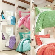 The bunk room in my future lakehouse may look like this someday : )     Suite Dottie Applique Duvet Cover & Sham | PBteen