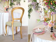 Fresh spring table setting with black & gold accents