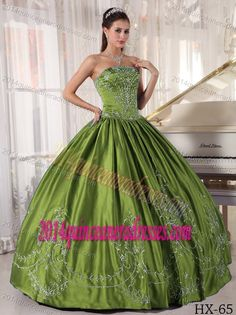 Ball Gown Strapless Quinceanera Gown with Embroidery in Olive Green