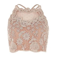 Light pink lace mesh crop top ❤ liked on Polyvore featuring tops, lace trim top, fitted tops, cropped tops, light pink top and square neck top