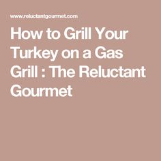 How to Grill Your Turkey on a Gas Grill : The Reluctant Gourmet