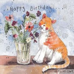 Cat Birthday Cards for cat lovers from Mad About Cats. Happy Birthday Ginger, Happy Birthday Art, Happy Birthday Pictures, Cat Birthday, Happy Birthday Greetings, Birthday Greeting Cards, Smileys, Clark Art, Cute Animal Illustration
