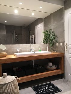 Wood and grey bathroom. Never ending renovation