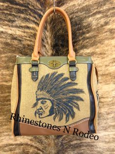 Hand painted Indian Head Leather Purse  --Designed & Hand painted at Rhinestones N Rodeo in Syracuse, KS-- www.rhinestonesNrodeo.com