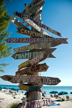 Sign at Fort Zachary Taylor Beach, Key West, Florida, USA (by LimeWave Photo).  I want to make one of these!