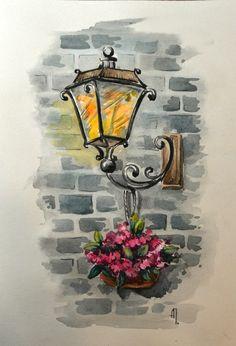 Просмотреть иллюстрацию Фонарь из сообщества русскоязычных художников автора Анна Петунова в стилях: Живопись, нарисованная техниками: Акварель.