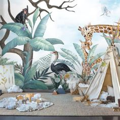 Kids Green Tropical Forest with Cute Elephant Giraffe and Zebra Wallpaper Mural – animal wallpaper Zebra Wallpaper, Wild Animal Wallpaper, Tier Wallpaper, Watercolor Wallpaper Iphone, Wall Wallpaper, Tropical Wallpaper, Iphone Wallpaper, Safari Room, Jungle Room
