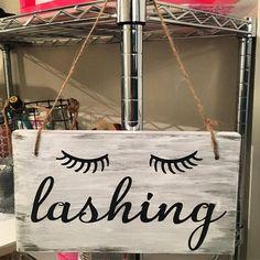 Lashing Wood Sign | Eyelashes Sign | Salon Decor | Salon Wood Sign | Office Wood Sign | Bathroom Wood Signs | Bathroom Decor | Vanity Decor by FallingInRustic on Etsy https://www.etsy.com/listing/525656457/lashing-wood-sign-eyelashes-sign-salon