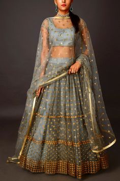 indian designer wear Grey Sequins Lehenga Price: INR Geometric arrays of sequins meet under the twilight sky making this an affair to remember! Indian Lehenga, Lehenga Choli, Lehenga Indien, Lehnga Dress, Alia Bhatt Lehenga, Sharara, Dress Indian Style, Indian Dresses, Pakistani Dresses