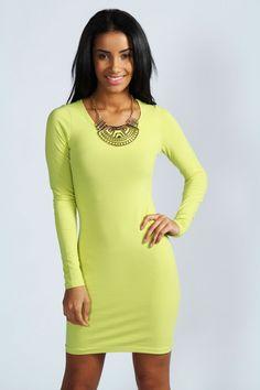 Yellow Bodycon Dresses Long Sleeve