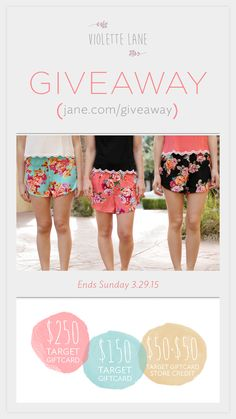 { #GIVEAWAY TIME } Warmer weather - ✓ check! Giveaway time - ✓ check! Target gift cards - ✓✓✓ TRIPLE check!! We've got a great giveaway lined up for you this week from Violette Lane and it involves something every lady loves... Target gift cards and super cute clothes! #yourewelcome ***Click through to enter***