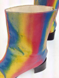 90's Rainbow Lenticular Hologram Boots // by FeelingVagueVintage