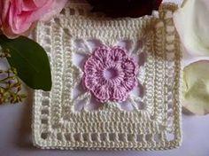 Crochê Gráfico: Square de crochê com flor