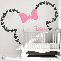 Mickey Mouse Inspired ears with Bow & PERSONALIZED BABY NAME / Minnie Mouse Inspired wall decals by GraphicsMesh grey and pink