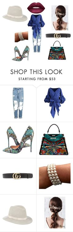 """""""t"""" by betty-jean on Polyvore featuring Topshop, Chicwish, Christian Louboutin, Fendi, Gucci, Eugenia Kim and Lime Crime"""
