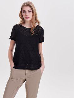 JDY Damen T-Shirt Spitze Kurzarm Short Sleeve Oberteil Only JDYKIMMIE Jersey Top