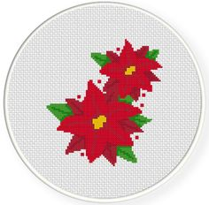 FREE for Dec 28th 2014 Only - Poinsettia Cross Stitch Pattern