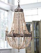 Malibu Beaded Pendant Light - White & Gold Beads and Silver Hemp Ro Sham Beaux