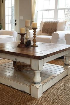 I'm in love with my coffee table! It was a long wait but when it came it fits so perfectly in my rustic farmhouse living room that I'm thrilled. #farmhouse #ad #farmhousestyle #coffeetime #coffeetable #rusticdecor #antiquefarmhouse