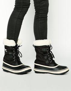 Sorel Winter Carnival Sherpa Snow Cuff Black Boots