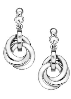 Beautiful Sterling Silver Hot Diamonds earrings from the Trio collection. Featuring three interlocking circles and set with a small diamond. DE388 #hotdiamonds #earrings