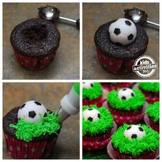 Küche-Sport-Fußball-Muffin-soccer cupcake tutorial - perfect for an end-game party! (fun cakes for boys) Sports Themed Birthday Party, Soccer Birthday Parties, Soccer Party, Sports Party, Diy Birthday, Sports Birthday Cakes, Birthday Basket, Soccer Cupcakes, Fondant Cupcakes