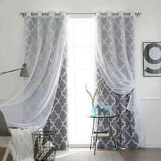 Aurora Home MIX & MATCH CURTAINS Moroccan Room Darkening and Voile Sheer 84-inch Grommet 4-piece Curtain Panel Pair