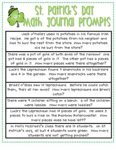 The Inspired Apple: St. Pat's Day Math Journal Activities {for primary}