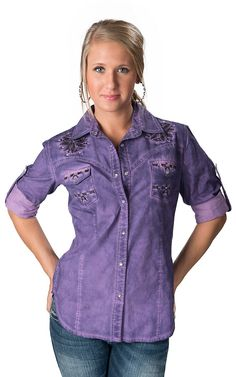 Rock & Roll Cowgirl® Women's Purple Bleach Wash with Embroidery & Rhinestones Long Sleeve Western Shirt