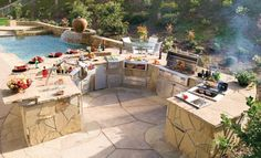 Astonishing Outdoor Kitchens Tampa Bay With Natural Stone Kitchen Countertops And Wrought Iron Fruit Basket Stand Also Bi Level Breakfast Ba...