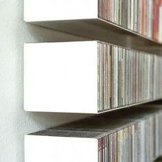 b _ CD-Regal in weiss aus Stahlblech Cd Dvd Storage, Vinyl Storage, Small Space Interior Design, Interior Design Living Room, Vinyl Shelf, Cd Shelf, Metal Shelves, Shelving, Lp Regal