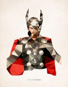 Thor cubist superhero