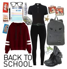 """School Time"" by raynebowmaster ❤ liked on Polyvore featuring Burberry, M&Co, Sharpie, Hot Topic, Rifle Paper Co, Gund, Fringe, Paper Mate and Pentel"